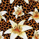Lily tiger type on orange leopard skin pattern seamless stock illustration