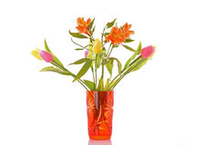 Lily and tulips in a vase Royalty Free Stock Images