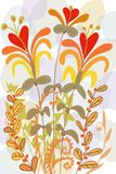 Lily type flowers and ferns, Floral cut paper unique flowers graphic design for covers,. Hand drawn design of flat fall yellow flowers and autumn leaves, in Stock Photo