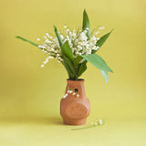 Lily-of-the-valley in clay vase Royalty Free Stock Image