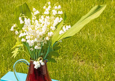 Lily of the valley, Convallaria majalis. Springtime flowers nin vase on table blue Royalty Free Stock Photo