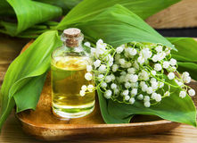 Lily of the valley essence/body-oil/extract Royalty Free Stock Images