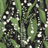 Lily of the valley with fern seamless pattern. Hand drawn texture with flowers, buds, leaves and stems. Colorful vector. Illustration Royalty Free Stock Photos