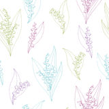 Lily of the valley flower graphic color sketch seamless pattern illustration Stock Photography