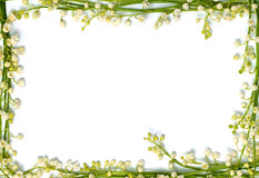 Lily of the valley flowers on paper frame border isolated horizo Stock Images