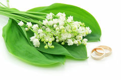 Lily of the Valley and Golden Rings Isolated. On White Background Royalty Free Stock Photos