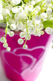 Lily of the valley in a heart vase. Highlighted lily of the valley in a blured heart vase stock images