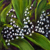 Lily of the valley. Original oil painting showing Lily of the valley (Convallaria majalis) flowers bouquet on canvas Royalty Free Stock Images