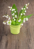 Lily of the valley in ornamental backet on wood Royalty Free Stock Photo