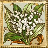 Lily of the Valley Tile. Genuine Victorian Arts & Crafts period tile design - lily of the valley Royalty Free Stock Images
