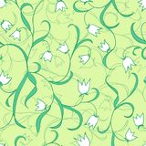 Lily of the valley. Vector floral pattern. Seamless curly texture. Floral ornament. Green plants background Stock Image
