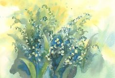 Lily of the valley watercolor background. Spring bloom. Sunny colors stock illustration