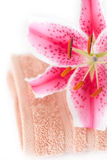 Lily in a vase, towel and cosmetic containers Royalty Free Stock Photos