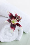 Lily and white towels Stock Photography