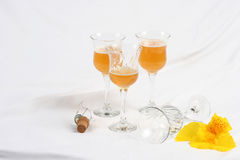 Lily with Wineglasses  Stock Images