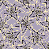 LilyPattern. Hand-drawn abstract lilys on the purple background. Pattern Stock Photography