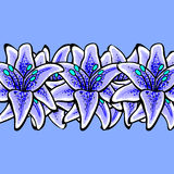 LilyVector-04. Hand-drawn blue lilys on the blue background. Vector background. 10 EPS Royalty Free Stock Image