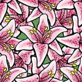 LilyVector-07. Hand-drawn bright pattern made from big pink lilys. Vector illustration Royalty Free Stock Image