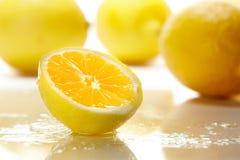 Limão amarelo cortado fresco Imagens de Stock