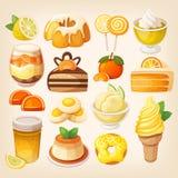 Limão colorido e sobremesas alaranjadas ilustração do vetor