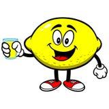 Limão com suco de limão ilustração stock