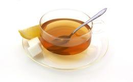 Limão e açúcar da largura do chá Fotografia de Stock