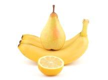 Limão e bananas da pera Fotografia de Stock