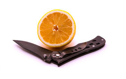 Limão e faca Fotografia de Stock