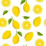 Limão e fatias de teste padrão do limão Fundo do verão com limões amarelos Ilustração do vetor ilustração stock