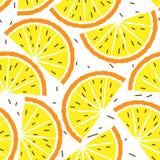 Limão e teste padrão sem emenda alaranjado Teste padrão dos frutos tropicais Fotos de Stock