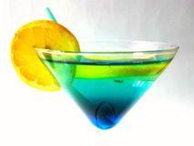 Limão feliz do verde azul do álcool da bebida do cocktail Fotografia de Stock Royalty Free