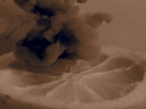 Limão fresco preto e branco meio no fumo escuro foto de stock royalty free
