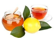 Limão, mel e chá Fotografia de Stock