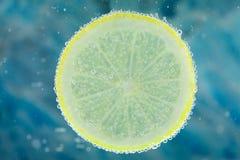 Limão na água carbonatada Fotografia de Stock