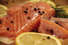 Limão salmon fresco, norueguês Imagens de Stock