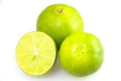 Limão verde fresco que corta o grupo Fotografia de Stock