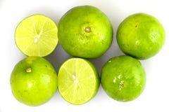 Limão verde fresco que corta o grupo Fotografia de Stock Royalty Free