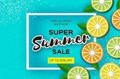 Limón, cal, anaranjada La bandera estupenda de la venta del verano de la fruta cítrica en papel cortó estilo Rebanadas maduras ju libre illustration