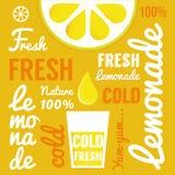 Limón con los vidrios de la limonada o del cóctel Cartel de la tipografía Imagen de archivo libre de regalías