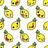 Limón de Kawaii con la fruta inconsútil del kawaii del modelo de los ojos morados lindos con el modelo inconsútil de las caras em fotos de archivo libres de regalías