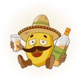 Limón de la historieta en un sombrero y las botas que beben tequila Ilustraci?n del vector libre illustration