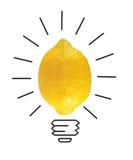 Limón del amarillo del concepto de la inspiración como metáfora de la bombilla para el bueno fotos de archivo libres de regalías