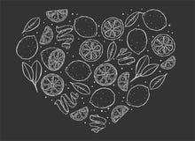 Limón del corazón en fondo negro stock de ilustración