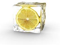 Limón en cubo de hielo Fotografía de archivo