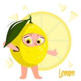 Limón estupendo citrus Personaje de dibujos animados amarillo jugoso fresco ilustración del vector