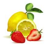 Limón, fresa y rebanadas frescos Imágenes de archivo libres de regalías