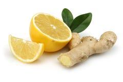 Limón fresco con el jengibre Imagen de archivo