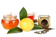 Limón, miel y té Foto de archivo