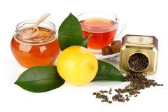 Limón, miel y té Foto de archivo libre de regalías