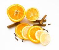 Limón, naranja y cinamomo Foto de archivo